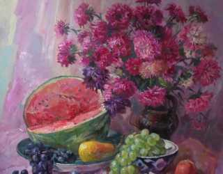 Натюрморт с фруктами и цветами