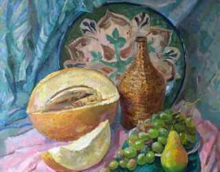 Натюрморт с ляганом и фруктами