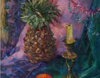 Натюрморт со свечой и ананасом