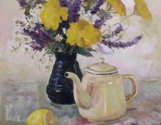 Летний натюрморт с вазой и чайником