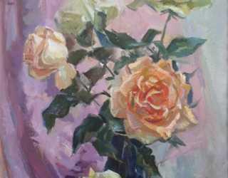 Натюрморт с желтыми розами