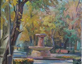 Бишкек. Фонтан в Дубовом парке.